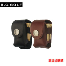 Free Shipping Mini Portable Leather Clip On Golf Ball Holder Pouch Bag Hold 2 Ball Golfer Aid Tool Gift Black(China)