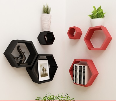 3 Hexagon /Lot  Colorful PU Lacquer Wall Floating Shelf  Shelving With Screws Decoration<br><br>Aliexpress