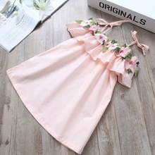 Summer 2017 Baby Girls Dresses Embroidery Flower Girls Clothes Infant Children Clothing New Design Kids Vestido Straps Costume