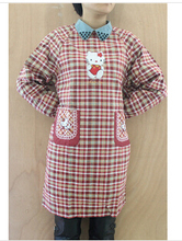 290g Per Pcs Embroidery Hello Kitty Adult Women Lay Long-sleeve Lattice Thick Cotton Aprons Pockets On Front