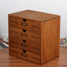 Creative Wooden storage box 4 Layers Drawer Desk Organizer Multi-functional Wooden Storage Cabinet