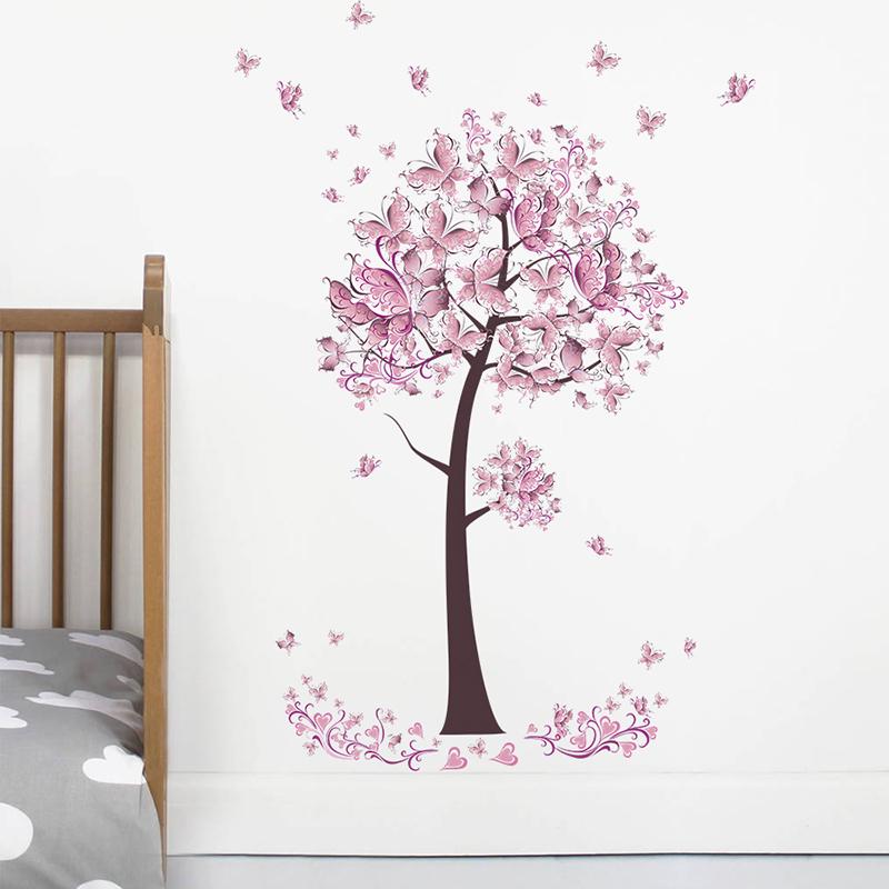 HTB1djDJiljTBKNjSZFNq6ysFXXa6 - Pink butterfly flower Tree Wall Stickers