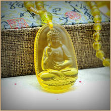Yumten Citrine Pendant Necklace Jade Buddha Pendants Fine Jewelry Women Men Yellow Crystal High Quality Natural Stone Carved(China)
