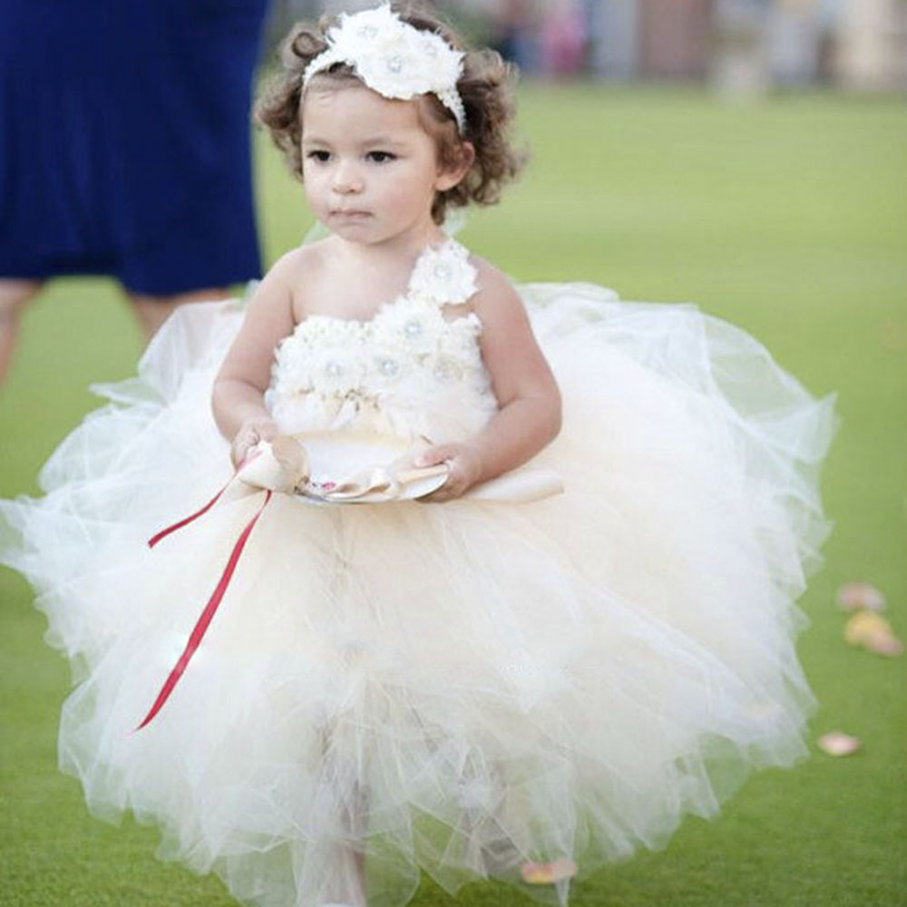 Girls Dresses Champagne Ivory Flower Girl Dress Vintage Satin Ribbon
