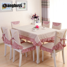 13pcs/set Chair Table Cover Tablecloths Home Decor,Chinese Style Pink Table Cloth,Soft Table Cloth,toalha de mesa retangular(China)