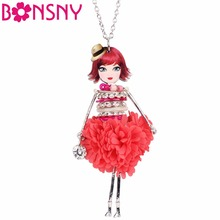 Bonsny Statement Shell Crystal Doll Necklace Dress Handmade French Doll Pendant 2017 News Alloy Girl Women Fashion Jewelry Gift(China)