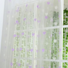 Sweet Heart Printed Sheer Voile Room Panel Drape Door Valances Scarf Window Curtains