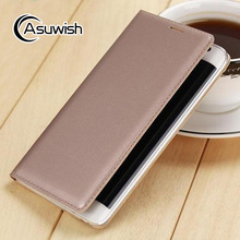 Asuwish Flip Cover Leather Case For Samsung Galaxy Note Edge N9150 N915 N915F Slim Original Phone Case Wallet + Screen Protector