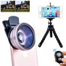 Universal Clips Mobile Lens Kit 0.45X Wide Angle Lenses 12.5X Macro Lentes With Tripod For motorola e398 ZTE Asus doogee nexus(China)