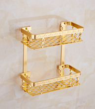 Golden Square Rack Receiving Bathroom Double Basket With Hook Carved Patterns Bathroom Wall Mounted Shelves