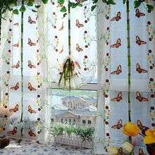 2017 Roman style  Butterfly Printed Tulle Door Window Balcony Sheer Panel Screen Curtain Colorful Butterfly Lifting Curtain