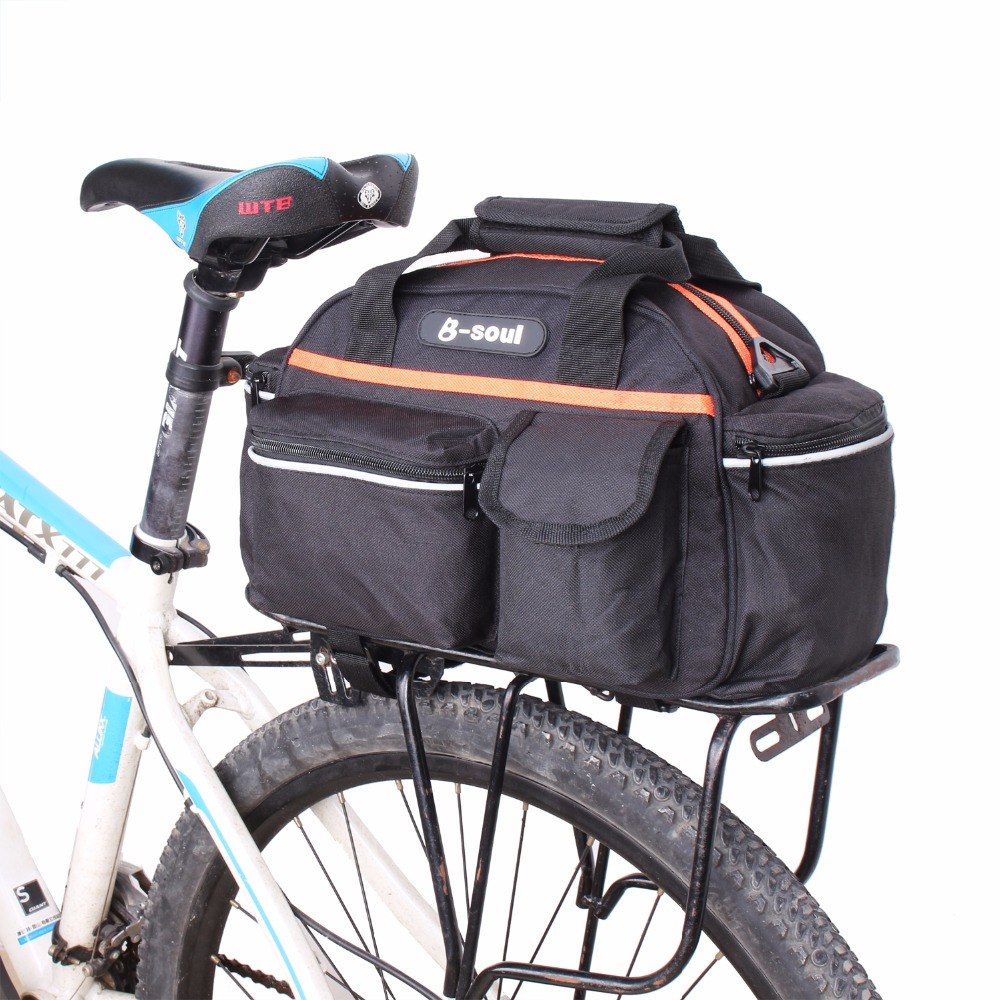 B-SOUL Bicycle Bag Multifunction 14L Bike Rear Bag Saddle Cycling Pannier Bicicleta Basket Rack Trunk Bag Shoulder Handbag YA091