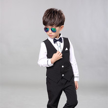 2017 Children Baby Boy Blazer Clothes Set Shirt Striped Vest Pants Suits For Wedding Kids Tuxedo Suit Boys Vest Formal Clothing
