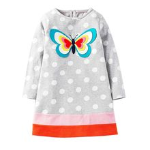 Kidsalon Long Sleeve Dress Girls Clothes 2017 Brand Winter Kids Dresses for Girls Animal Applique Princess Dress Children Jersey(China)