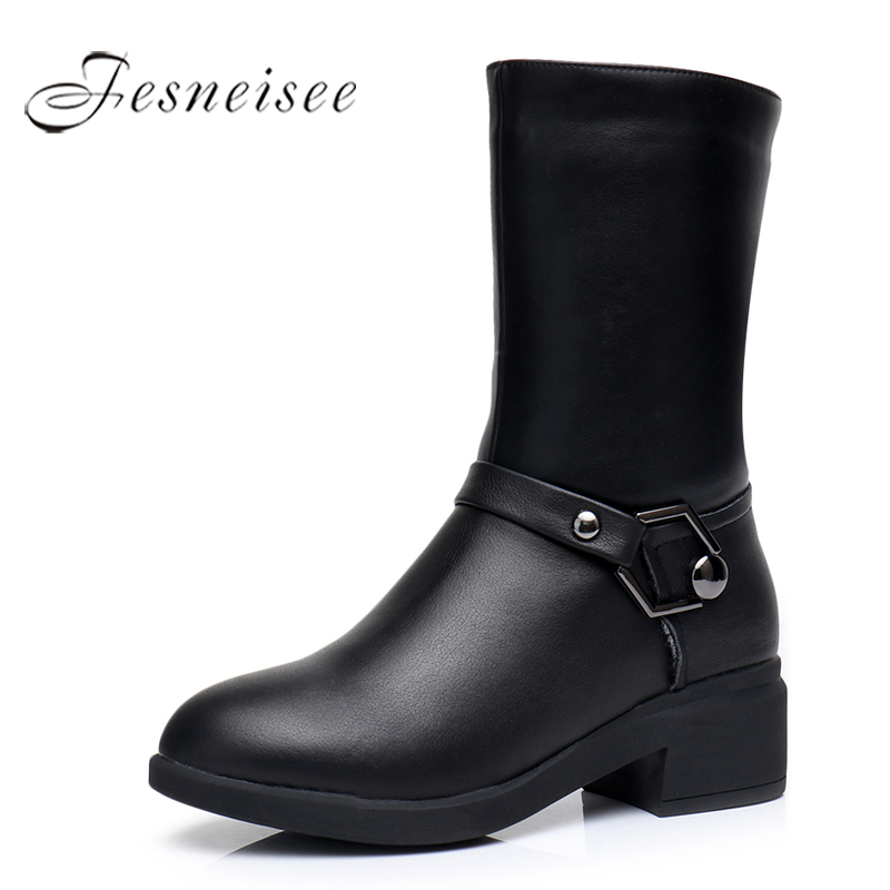 2017 New Winter Mid Calf Boots Woman Shoes Genuine Leather Boots Round Toe Low Heels Boots High Quality Shoes Size 34-43 M5.0<br>