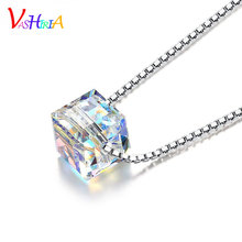 Promotion LOVE cube charm fashion jewelry 925 silver Necklace rainbow crystal pendant square Luxury Necklaces for women