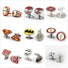HSIC JEWELRY Metal Alloy Superhero Cuff Link Superman Spider-Man Iron Man  Captain America Cuff Buttons size 2cm*2cm