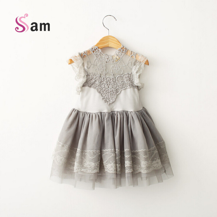 Korean Children Clothings 2017 Summer Girl Dress Vintage Ruffles Sleeve Clothes Princess Girl Party/birthday Costumes<br><br>Aliexpress