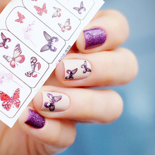 1 sheet Vivid Flying Butterfly Nail Water Decals Flower Design Print Transfer Stickers Nail Art Sticker BOP028 #16994