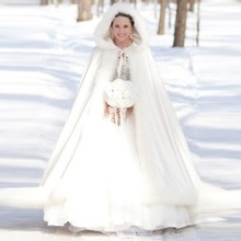 Floor Length Women White/Ivory Faux Fur Trim Winter Christmas Bridal Cape Stunning Wedding Cloaks Hooded Long Party Wraps Jacket(China)