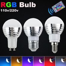 Low price LED stage light LED RGB lamp E27 bulb AC110V 220V 3W E14 GU10 LED Spot light magic Holiday RGB light+IR Remote Control(China)