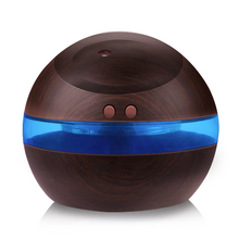 USB Air Ultrasonic Humidifier 300ml Aroma Wooden Diffuser Essential Oil Diffuser Aromatherapy mist maker with Blue LED Light(China)