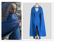 Game of Thrones Daenerys Targaryen Cosplay Costume Blue Dress Cloak A Song of Ice and Fire Movie Cosplay Clothing stock rights