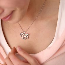 1 pcs Fashion Style Silver Color Necklace Rhinestone Running Horse Charm Pendant Chain Hot Sale bijoux femme