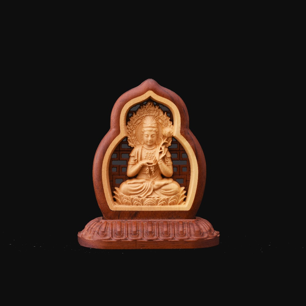 The Chinise folk arts and crafts Boxwood carvings car  decoration Bodhisattva1 Home Furnishing Articles gift  collection<br>