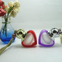 50pcs/lot 6ml The Heart Of The Ocean Frosted Glass Bottle Empty Hot selling New Heart Shape Car Pendant Perfume Glass Bottle