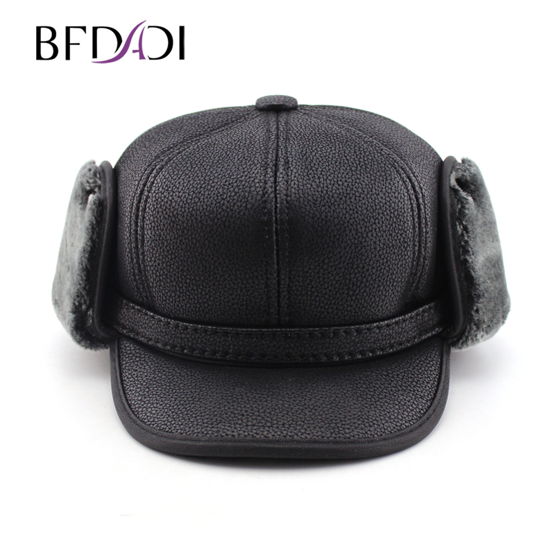 BFDADI 2017 New arrival Hat winter men pilot hat with ear flaps mens faux fur hat mens winter hats ear flaps free shipping(China (Mainland))