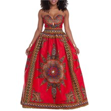 ankara Fashion strapless Africa printed full dress traditional dashiki print classic batik cotton party max dress free shipping