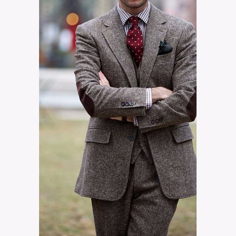 2017 Brown Tweed vestido de festa new men wedding suits Slim Fit 3 Pieces Tuxedo Custom mens Suits Groom Blazer Terno Masculino
