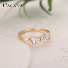 CACANA Cubic Zirconia Rings For Women Tied Bow Type Trendy Fashion Zinc Alloy Rings Jewelry Bijouterie Wholesale NO.R505