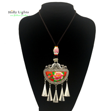 Women maxi long necklace&pendants maxi multicolor embroidery chokers tribal female jewellery big ceramic beads tassel collar new