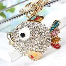 Fat Fish Big Head animal Pendant Charm Rhinestone Crystal Purse Bag Keyring Car Key Chain Women Apparel & Accessories