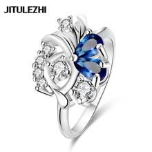Women's silver plated zircon finger ring bridal jewelry bague femme anel de prata joias factory outlet Jewelry supplier(China)