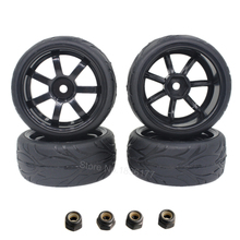4pcs 12mm RC Car Tires Wheels 1/10 On Road Car 12mm Hex with Sponge For HSP HPI Spare Parts(China)