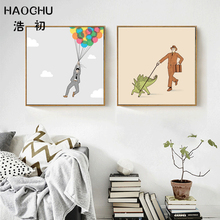 HAOCHU Cartoon Funny Balloon Man Walk Dinosaur Canvas Painting Modern Minimalist Landscape Wall Picture Home Bedroom Decoration
