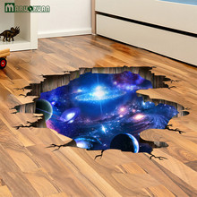 MARUOXAUN 3D Deep Blue Universe Galaxy Stickers Living Room Floor Stickers Ceiling Dormitory Wall Stickers Waterproof pvc Mural
