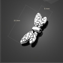 High quality 10 Pieces/Lot 22.3mm*8.1mm Antique Silver Plated metal animal Dragonfly bracelet beads for jewelry making