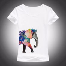 elephant is covered with flowers T-Shirt Women Short Sleeve o-neck t shirt soft Breathable girls casual  tshirt