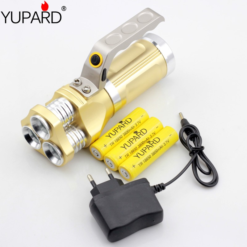 YUPARD Night Fishing light lamp Searchlig Spotlight white blue Light outdoor camp Flashlight +3*3800mAh 18650 Battery +charger<br><br>Aliexpress