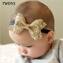 TWDVS Newborn Shiny Bow Knot Hair band Kids Girls Elastic Bow Headband Kids Hair Accessories Ring hair accessories W213
