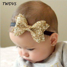 TWDVS Newborn Shiny Bow Knot Hair band Kids Girls Elastic Bow Headband Kids Hair Accessories Ring hair accessories W213(China)