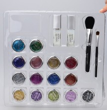 15 Colors Temporary Glitter Tattoo Kit with Brushes, Glue, Stencil