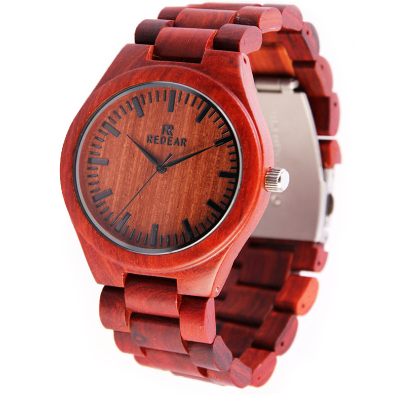 2017 Newest Brand Design Rose Wooden Watch for Men Cool Metal Wood Case Quartz Watches in Gift Box Accept Customize<br>