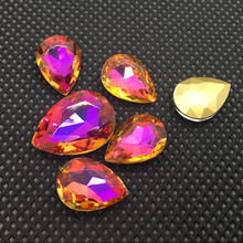 6*8mm 90Pcs/Pack Point Back Shaped Glass Light Purple Flame Colorful Stones For 3D Nails Decoration Nail Art Rhinestones(China)