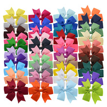 40 Solid Colors 3 Inch 7.6cm Handmade Girls Bows Alligator Hair Clips Children's Hair Barrettes Princess Hair Accessories(China)
