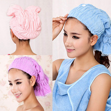 Textile Microfiber Hair Towel Turban Quickly Dry Hair Hat Cap Wrapped Towel Bath for Womens Girls Ladies Cap Bathing Hair Towels